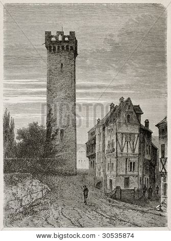 Goetz jail old view, Germany. Created by Stroobant, published on Le Tour Du Monde, Paris, 1867
