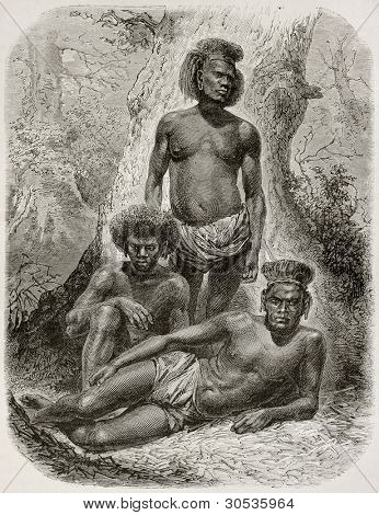 Loyalty islands natives old illustration. Created by Neuville after photo of unknown author, published on Le Tour Du Monde, Paris, 1867