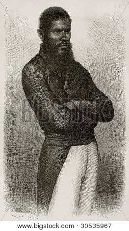 Chief of Ouen isle (New Caledonia) old engraved portrait. Created by Loudet after photo by unknown author, published on Le Tour Du Monde, Paris, 1867