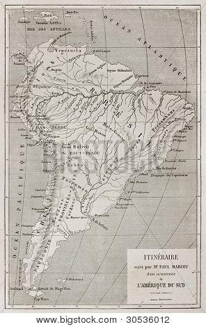 Explorador francés Paul Marcoy Itinerario a lo largo del río Amazonas, mapa antiguo. Creado por Erhard, publicado en L