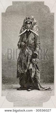 Old Jew woman old engraved portrait. Created by Neuville and Laplante after photo of unknown author, published on Le Tour du Monde, Paris, 1867