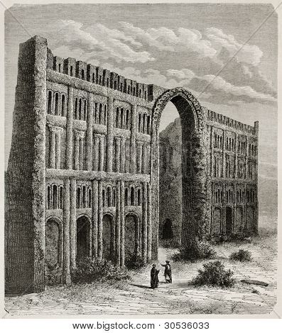 Taq-i Kisra old view, Iraq. Created by De Bar after photo of unknown author, published on Le Tour du Monde, Paris, 1867