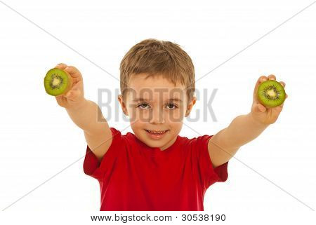 Little Boy Giving Kiwi