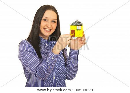 Happy Business Woman Opening Home