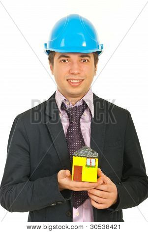 Architect Man Holding House Miniature