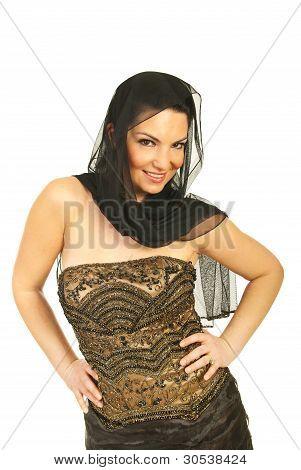 Woman In Elegant Dress With Veil On Head