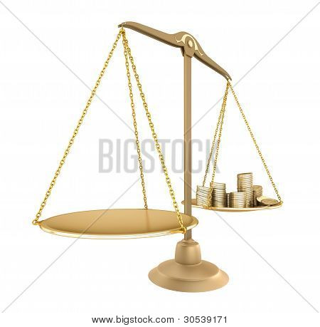 Gold balance. Something equal with money, isolated