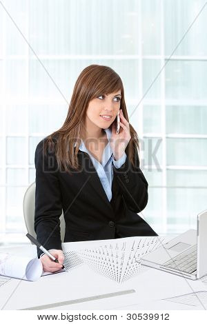 Attractive Business Woman Working At Desk