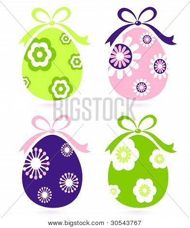 Retro Easter Floral Eggs Set Isolated On White
