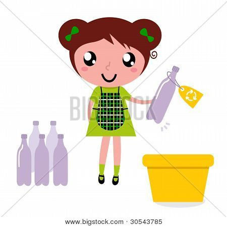 Cute Girl Recycle Garbage Into Recycling Bin