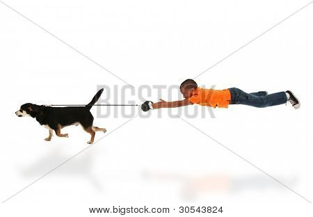 Dog Taking Happy Handsome Black Boy Child for Walk over White.