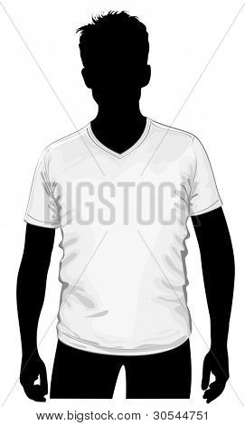 Vector. Men's v-neck t-shirt template with human body silhouette.