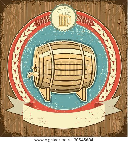 Barrel Of Beer Label Set On Old Paper Texture.grunge Background