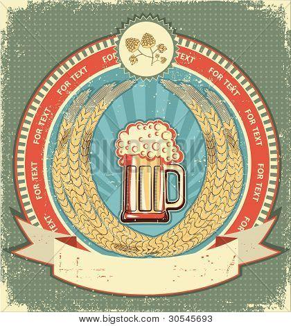Símbolo de la cerveza de fondo Label.vintage con desplazamiento de texto en papel viejo