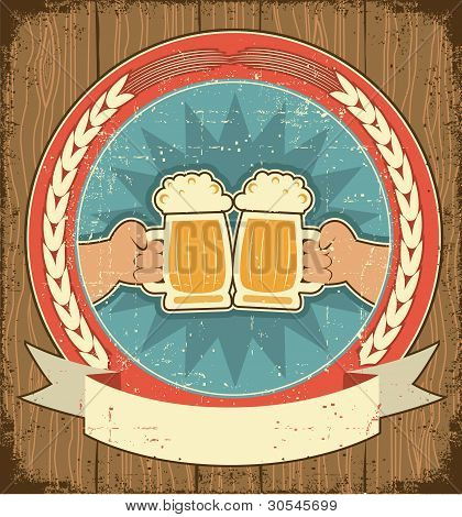 Beer Label Set On Old Paper Texture.vintage Background With Man Hands