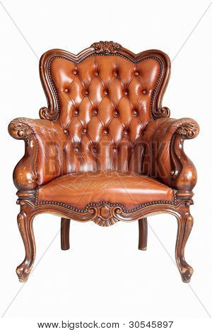 isolated Armchair brown genuine leather classical style sofa with clipping path