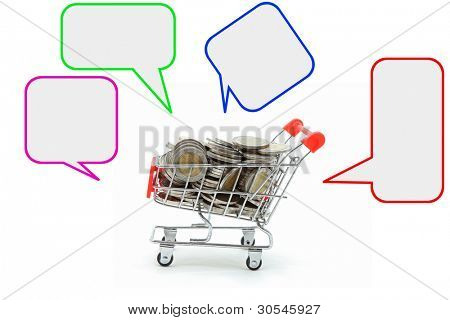 Full Cash in shopping cart with Blank Label Tag for Money Spending Concept