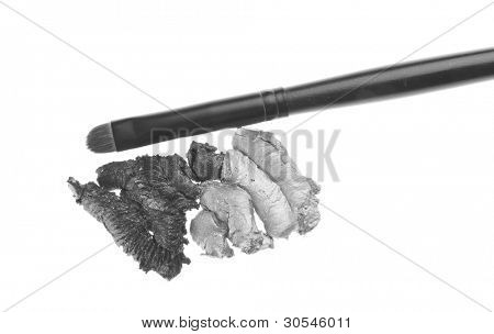 cream eyeshadows with brush isolated on white background