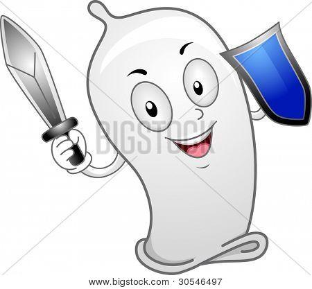 Illustration of a Condom Wielding a Sword