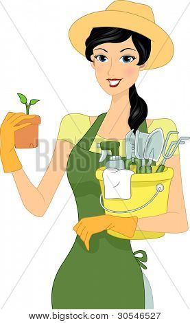 Illustration of a Girl Carrying Gardening Materials