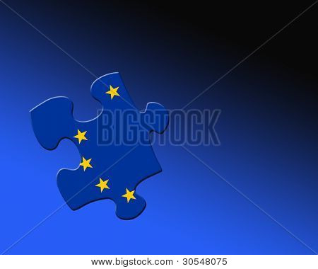 A single jigsaw piece filled with part of European Union flag.