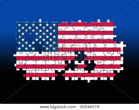 Jigsaw pieces filled with USA flag over black/blue background.