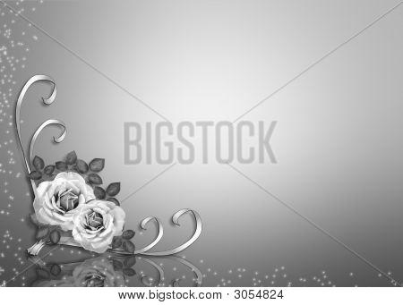 Stock photo : Black And White Roses Corner Design