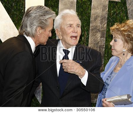 LOS ANGELES - FEB 26:  Michael Douglas; Kirk Douglas; Anne Douglas arrive at the 2012 Vanity Fair Oscar Party  at the Sunset Tower on February 26, 2012 in West Hollywood, CA