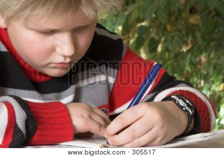 Teenager Boy Writing His Exercise