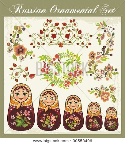 Vector ornamental set in traditional Russian style, including Matryoshka dolls and various floral designs.