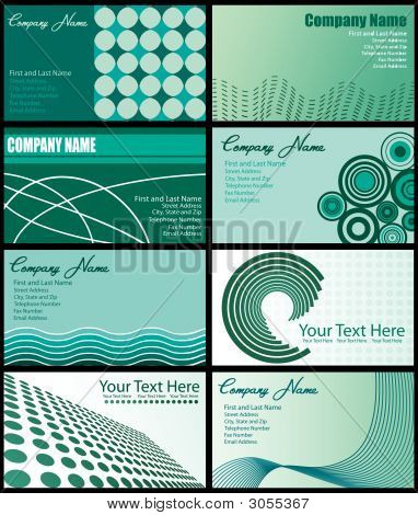 Set Of Green Business Cards
