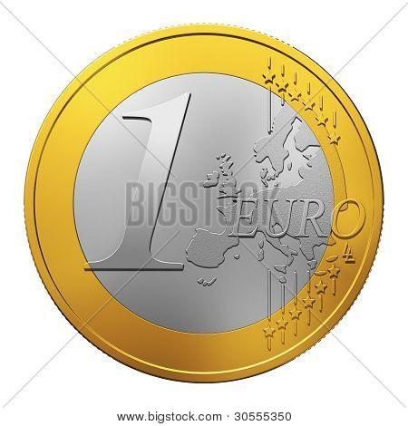 Una moneda de Euro aislada en blanco