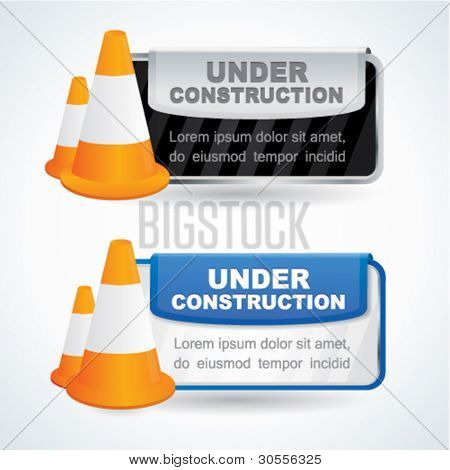 Under construction signs with traffic cones