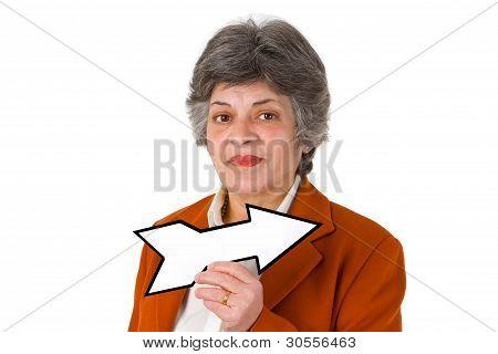 Female Senior With Blank Arrow