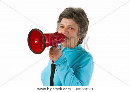 Senior Woman With Megaphone