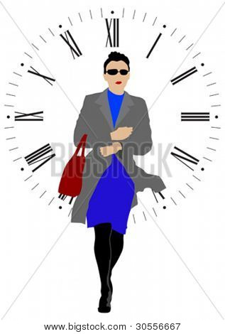 Vector drawing beautiful woman and clock