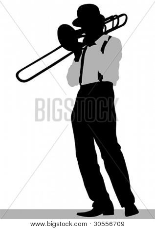 Vektor Zeichnung eines Mannes mit Trompete auf der Bühne