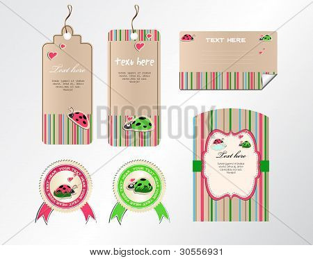 vector set of tags stickers and cards