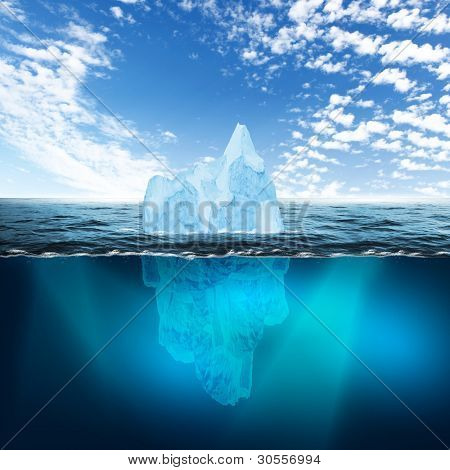 Antarctic iceberg in the ocean. Beautiful polar sea background.