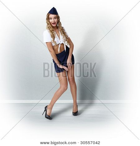 Portrait of young prestty woman dressed in retro style