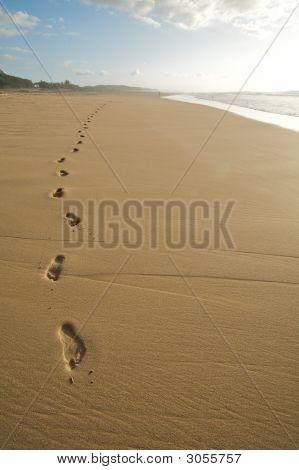 Footprints On A Beach - A Solitary Walk