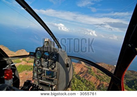 Helicopter Cockpit View Of Tropical Coast