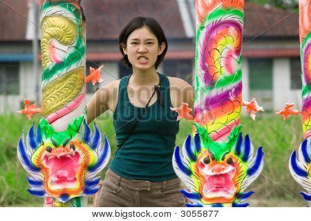 Angry Girl And Dragons