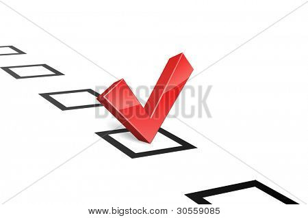 3D red vote tick concept vector illustration. Choice concept.