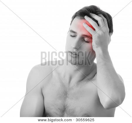 Man With Headache Isolated On White Background