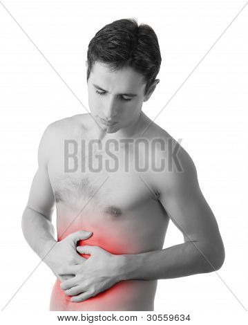 Young Man Holding His Sick Stomach In Pain, Isolated On White Background
