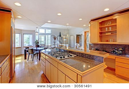 Large Luxury Modern Wood Kitchen With Granite Counter Tops.