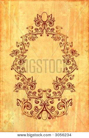 Vintage Frame On Textured Background With Clipping Path