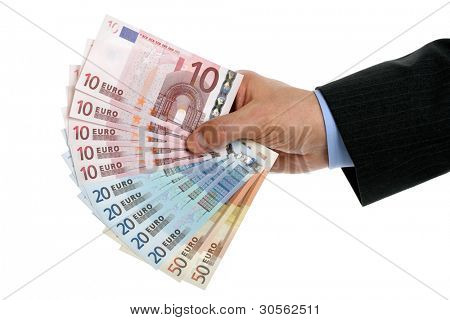 Businessmans hand holding european union currency against white background