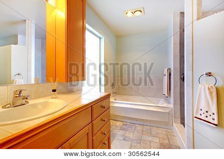 Large Bathroom With Double Sinks And Tub With Grey Rug.